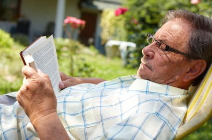 Senior Man Reading Outdoor